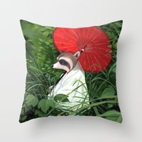 raccoon Throw Pillows featuring Raccoon by Erik Krenz