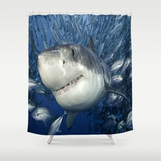 Smiling Great White Shark With Friends Shower Curtain