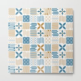 Nature Pattern in Blue and Gold Metal Print