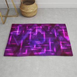Purple intersections on ultramarine metal background. Rug