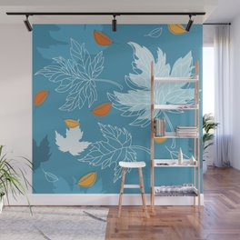 Lovely blue sky illustration with autumn leaves pattern  Wall Mural