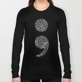 Patterned Semicolon: White on Black Long Sleeve T-shirt
