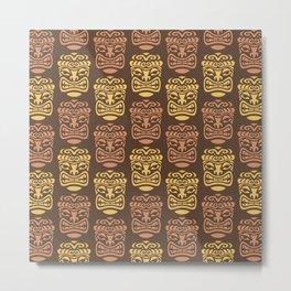 Tiki Pattern Brown Yellow Metal Print