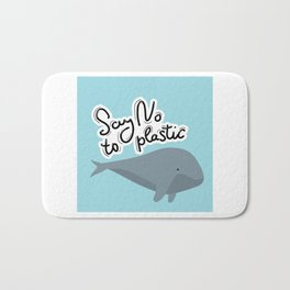 Say no to plastic. Whale, sea, ocean.  Pollution problem concept Eco, ecology banner poster. Bath Mat