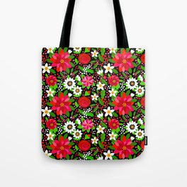 Christmas Flowers and Holly, Poinsettia, Roses and Lilies, holidays, girls floral gift, gift for mom Tote Bag
