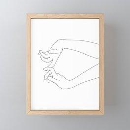 Hands line drawing - Robin Framed Mini Art Print