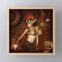 Beautiful steampunk women Framed Mini Art Print