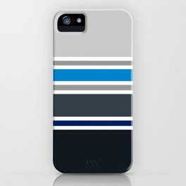 PreppyPatterns™ - Urban Multi-stripe - platinum, silver, gunmetal, azure blue, black, indigo iPhone Case