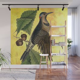 Northern Flicker with Oak, Vintage Natural History and Botanical Collage Wall Mural