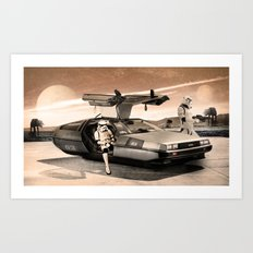 2 Stormtrooopers in a Hover DeLorean  Art Print