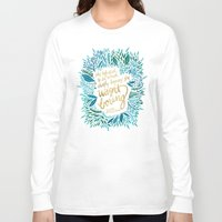 fitzgerald Long Sleeve T-shirts featuring Zelda Fitzgerald – Blue on Black by Cat Coquillette