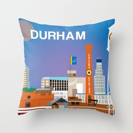 Durham, North Carolina - Skyline Illustration by Loose Petals Throw Pillow
