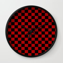 Checkers - Black and Red Wall Clock