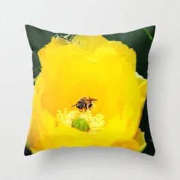 Cactus Flower, Bee and Grasshopper Throw Pillow