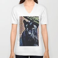 panther V-neck T-shirts featuring Panther by grapeloverarts