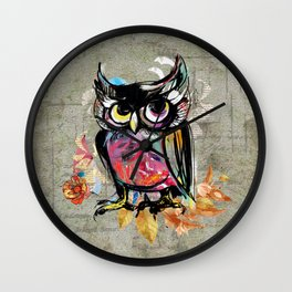 Colorful Wise Owl Wall Clock