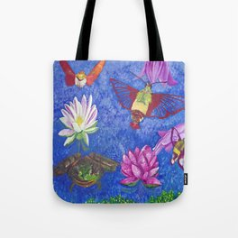 Hummingbird Moth and Frog Tote Bag