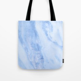 Shimmery Pure Cerulean Blue Marble Metallic Tote Bag