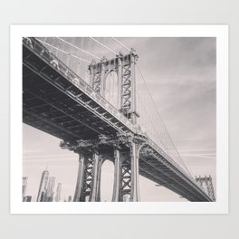 Manhattan Bridge, New York City, black & white, fine art photography, NY Art Print