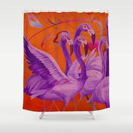 Purple Flamingo Shower Curtain