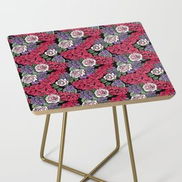 Chevron Floral Black Side Table