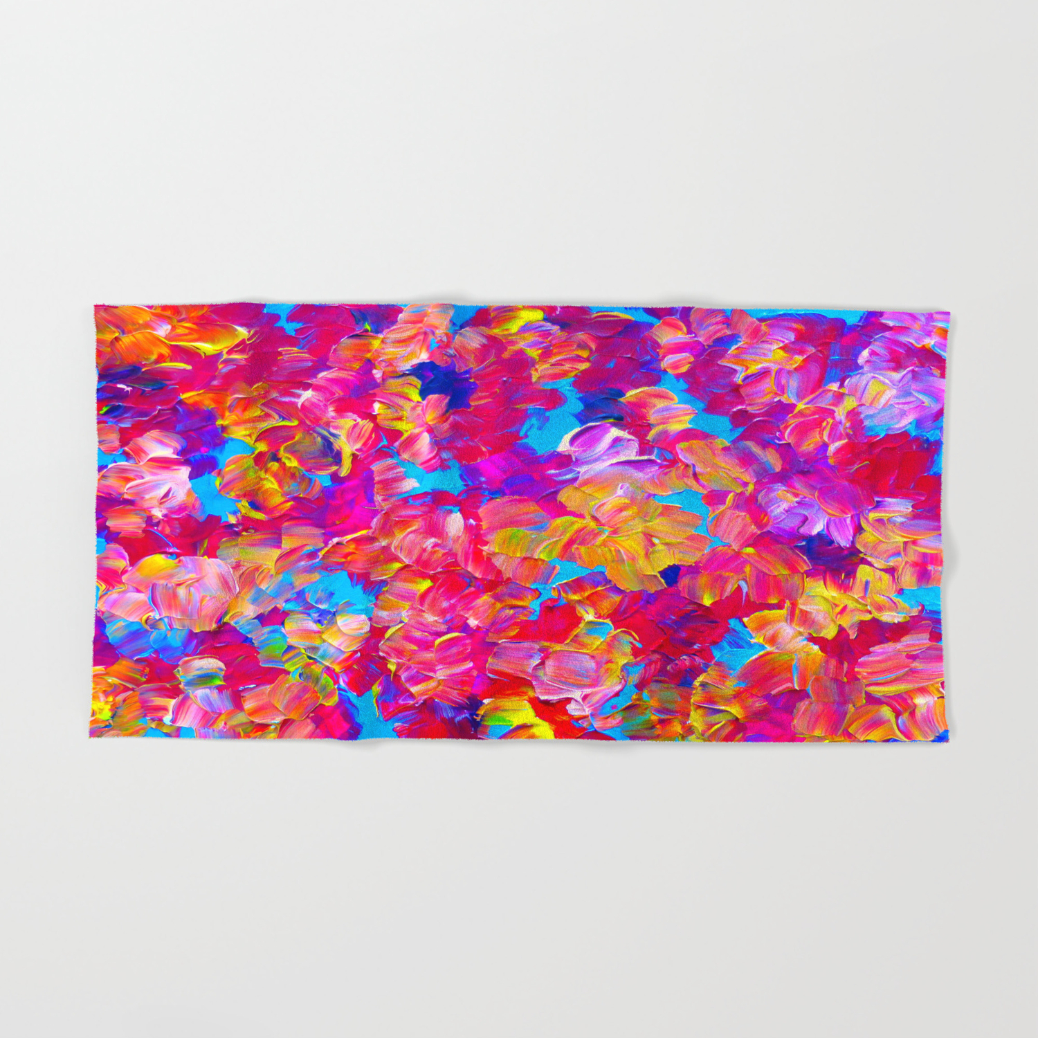 Floral Fantasy Bold Abstract Flowers Acrylic Textural Painting Neon Pink Turquoise Feminine Art Hand Bath Towel