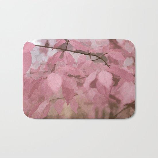 Soft Pastel Leaves  Bath Mat