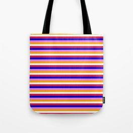 Colorful Violet, Orange, Mint Cream, Crimson, and Blue Stripes/Lines Pattern Tote Bag