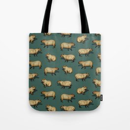 Cute Capybara Pattern - Giant Rodents on Dark Teal Tote Bag