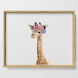 Baby Giraffe with Flower Crown Serving Tray