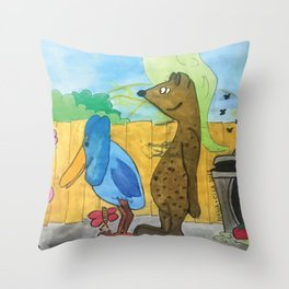 Lovely Garbage lot Throw Pillow