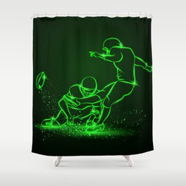 American Football Kicker Hits the Ball. Green Neon Sports Shower Curtain