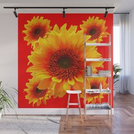 RED SUNFLOWERS PATTERN ART Wall Mural