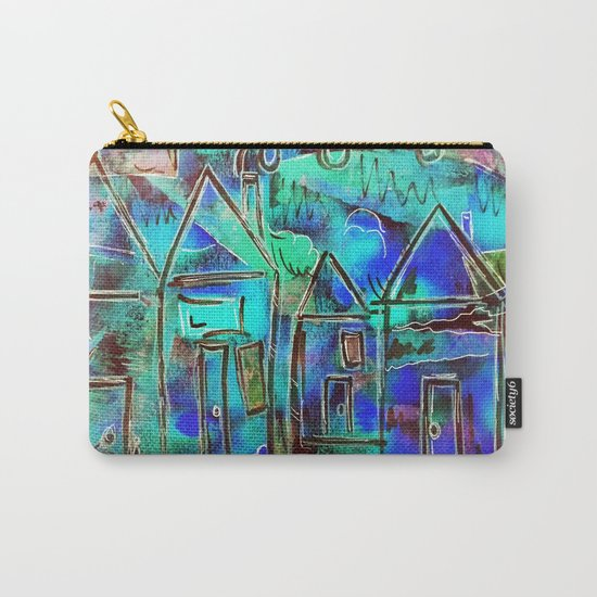 Neon Blue Houses Carry-All Pouch