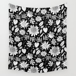 TROPICAL FLORAL BLACK & WHITE Wall Tapestry