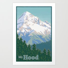 Vintage Mount Hood Travel Poster Art Print