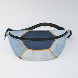Deco Blue Marble II with Metallic Gold Accents Fanny Pack