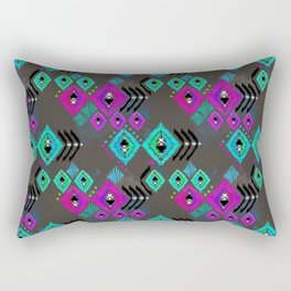 Abstract ethnic tribal pattern on a brown background. Rectangular Pillow