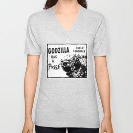 Godzilla has a posse Unisex V-Neck