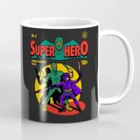 superhero Mugs featuring Superhero Comic by harebrained
