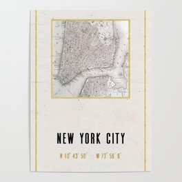 Vintage New York City Gold Foil Location Coordinates with map Poster