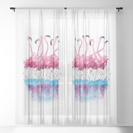 Flamingos dance - cute flamingo watercolor painting Sheer Curtain