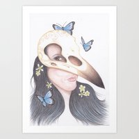 crow Art Prints featuring Crow by Drawings by LAM