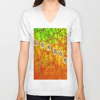 london map V-neck T-shirts featuring London Map by Joe Ganech