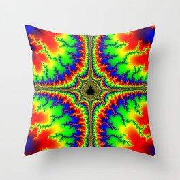 Psychedelic Mandelcross Trippy Fractal Art Print Throw Pillow