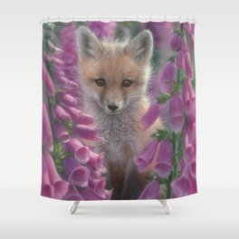 Red Fox Pup - Foxgloves Shower Curtain
