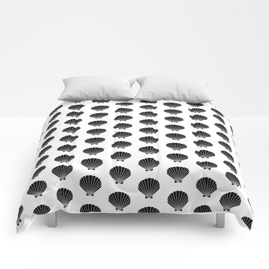 Seashells abstract black and white minimal pattern print painting india ink brushstroke modern art Comforters