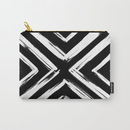 Minimalistic Black and White Paint Brush Triangle Diamond Pattern Carry-All Pouch