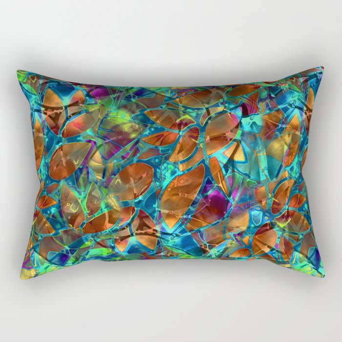 Floral Abstract Stained Glass G290 Rectangular Pillow
