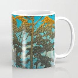 Vintage Japanese Woodblock Print Art Print Tall Sunset Trees Silhouette Twilight Forest East Asian Coffee Mug